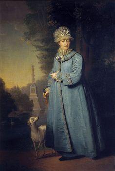 Catherine the Great Strolling in the Park with an Italian Greyhound (Zemira) - Vladimir Borovikovsky.
