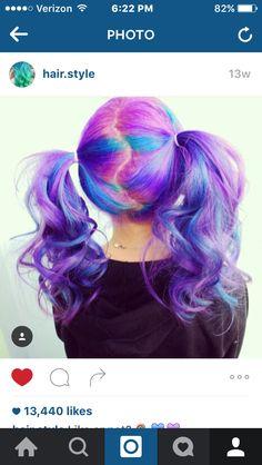 Pink/purple hair pigtails!
