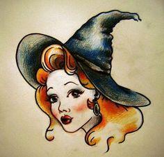43f956175 Traditional Witch Tattoo Design #tattoodesigns Pin Up Tattoos, Cute Tattoos,  Head Tattoos,