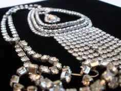 Runway Clear Rhinestone Fringe Pendant Vintage Necklace Prong Set Silver tone | eBay