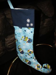 Blue Snowman Elf Christmas Stocking by harmony5 on Etsy, $30.00