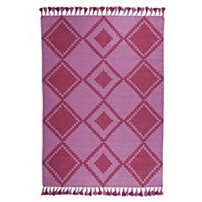 Lilac Mayan Cotton Dhurrie Rug