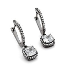 A dramatic touch with chic style, these Cushion shaped Cubic zirconia add a point of difference to your earring selection. Elegant hoops in Black rhodium. Silver Earrings, Drop Earrings, Black Rhodium, Halo, Bracelet Watch, Cushion, Touch, Sterling Silver, Stone