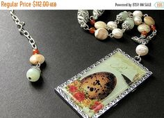 MOTHERS DAY SALE Ostrich Egg Necklace. Bird Nest Necklace. Gemstone Necklace in Jasper Jade Carnelian Agate and Fresh Water Pearl. Beaded by Gilliauna from Bits n Beads by Gilliauna. Find it now at http://ift.tt/2q8oOdx!