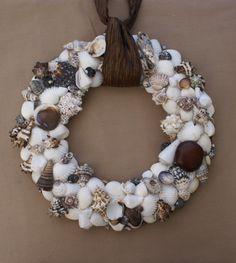 Seashell wreath for a seaside wedding.