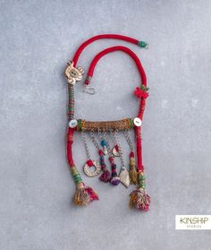 Wearable art piece, handmade with vintage materials from variety of cultures. Rope Jewelry, Jewelry Art, Beaded Jewelry, Jewelery, Handmade Jewelry, Jewelry Design, Unique Jewelry, Colar Tribal, Tribal Necklace