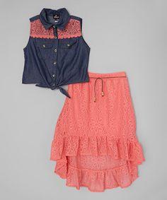 Look at this #zulilyfind! Denim Button-Up Top & Coral Skirt - Toddler & Girls by Dollhouse #zulilyfinds