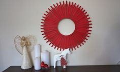 Christmas Craft - Christmas Crafts - Paddle Pop Stick Wreath.  I could even put a mirror in the middle