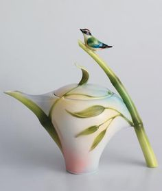 Franz Porcelain Bamboo Songbird Collection Teapot - have one of his tea cups. Love his work!