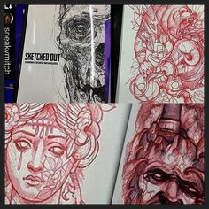 """THINK BLUE: Stoked to see all the talented artists in our books spreading the word! Check out these awesome sketches by @sneakymitch for """"Sketched Out"""" by @mementopublishing make sure to give them a follow!  #sneakymitch #mitchallenden #sketchedout #mementopublishing #artbook #instadaily #instagood #photoofday #sketch #drawing by thecoloringbookproject"""