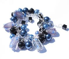 Blue Lampwork beads bracelet