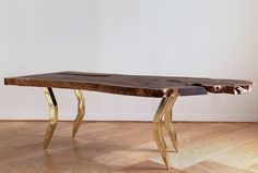 Amarillo Slab with circle inlays dining table by Monroe Workshop