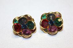 Vintage Earrings Bezel Crystal Flower 1950 Jewelry by patwatty, $3.00