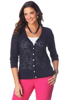 Pointelle Twin Set Cardigan - Christopher & Banks