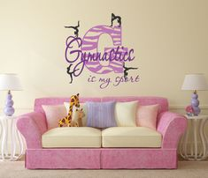 gymnastics bedroom. Gymnastics Is My Sport Decal Zebra Decor by SignJunkies Girl with Name Wall Personalized VinylWritten