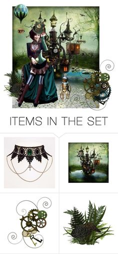 """Emerald Steampunk"" by synkopika ❤ liked on Polyvore featuring art"