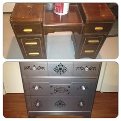 Refurbish an old dresser with metalic paint...new handles and damask stencil.
