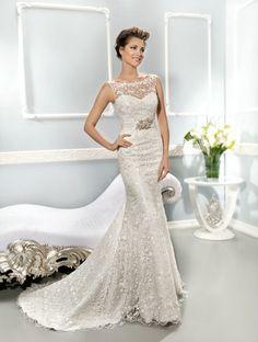 Elegant Floor Length Fit N Flare Bateau Neck Lace Wedding Gowns With Sash/ Ribbon Sheer Wedding Dress, Wedding Dresses 2014, Bridal Dresses, Wedding Gowns, Lace Wedding, 2015 Dresses, Women's Dresses, Wedding Pics, Pretty Dresses