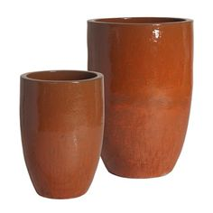 Tall Round Ceramic Planter - Paprika Red (set of 2) | Scenario Home
