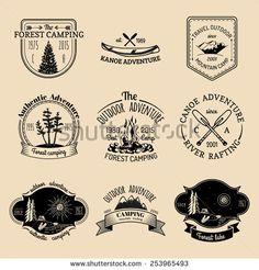 Vector set of vintage camping logo. Retro logotypes collection of outdoor adventures