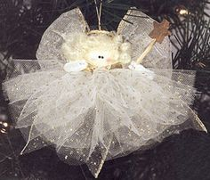 Sandra @ ribbonsandfavors.com DIY instructions. Tulle Angel made with Glimmer Tulle.