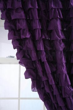 Deep purple ruffle curtains with green tie backs The Purple, Purple Stuff, All Things Purple, Shades Of Purple, Purple Punch, Purple Satin, Purple Hues, Pastel Purple, Pale Pink