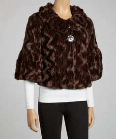 Take a look at this Chocolate Faux Fur Jacket by Papillon Imports on #zulily today!