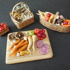 Cherry Tomatoes , Mushroom Basket – Carrot & Parsnip Basket , Vegetables on Cutting Board