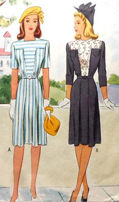 1940's Vintage Dress Sewing Pattern