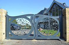 Garden Gates and Railings, Metal Flower Gates Home Gate Design, Steel Gate Design, Front Gate Design, Main Gate Design, Door Design, Grill Gate, Metal Garden Gates, Gates And Railings, Custom Gates