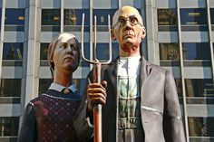 GOD BLESS AMERICA, sculptor: J. The sculpture is based on one of the most famous paintings in the history of American Art 'American Gothic' by Grant Wood, which is displayed in the nearby Art Institute of Chicago Outdoor Sculpture, Sculpture Art, Sculptures, American Gothic, American Art, Seward Johnson, Grant Wood, Most Famous Paintings, Art Institute Of Chicago