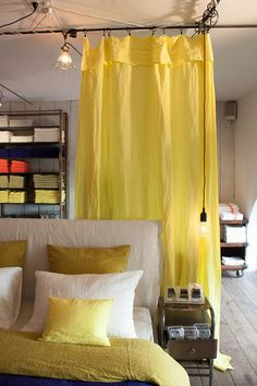 Yellow linen curtain and colored linen bed linen Linen Curtains, Linen Bedding, Bedding Sets, Bed Linen, Dinosaur Toddler Bedding, Cool Beds, Decoration, Luxury Bedding, Windows
