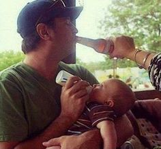 How To Feed Your Baby. Bottle Drinking Teamwork. Dad Feeds Baby Mom Feeds Dad. ---- hilarious jokes funny pictures walmart humor fails