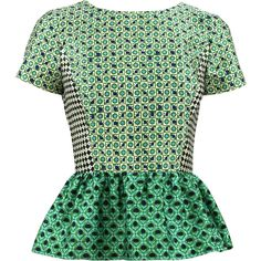 OSCAR DE LA RENTA Short Sleeve Jewel Neck Peplum Blouse (46,075 INR) ❤ liked on Polyvore featuring tops, blouses, shirts, blusas, ivy, silk print blouse, shirt blouse, silk top, short sleeve silk blouse and silk shirt