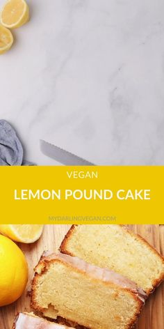 A vegan Pound Cake that is so rich and decadent no one will believe it's vegan. Topped with a lemony glaze for a delightful sweet morning or midday snack. Vegan Lemon Pound Cake Recipe, Pound Cake Recipes, Easy Cake Recipes, Vegan Vanilla Cake, Vegan Dessert Recipes, Vegan Sweets, Margarita Bebidas, Vegetarian Cake, Lemon Recipes