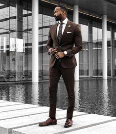 Brown Wedding Suits 2019 Slim Fit Bridegroom Tuxedos For Men 3 Pieces Groomsmen Suit Formal Business Tuxedos (Jacket+Pants+Vest +Tie) Smart Casual Work Outfit, Business Casual Outfits For Work, Casual Summer Outfits, Work Outfits, Fall Outfits, Fashion Outfits, Business Casual Black Men, Casual Outfit For Men, Business Men