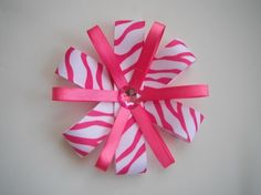Flower Ribbon Hair Bow Zebra PrintHot PinkWhite by lzlittleones