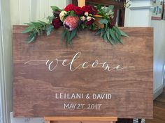 Wood Wedding Signs, Wedding Welcome Signs, Wedding Signage, Wood Signs, Walnut Stain, My Etsy Shop, Calligraphy, Wooden Plaques, Wedding Signs