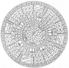 Printable Detailed Mandala Coloring Pages   Pin Coloring Pages For Kids Adults Aztec Mandala Page Tattoo picture ...
