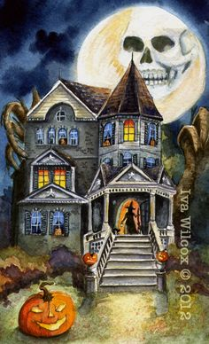 EHAG Halloween Haunted Witch Mansion Watercolor PRINT Painting PFATT