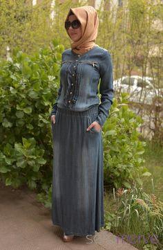 Yeni Sezon MYR Kot Elbise 9736-01 Mavi