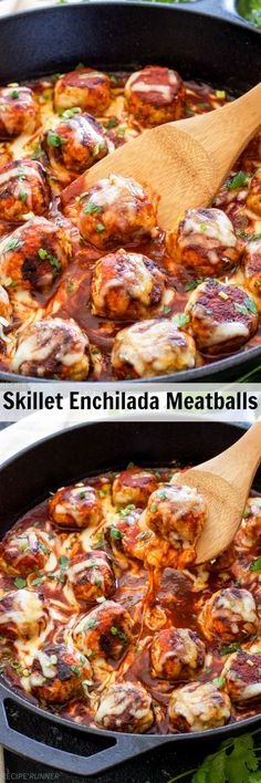 Skillet Enchilada Meatballs | Turkey meatballs seasoned with Mexican spices, browned in a skillet and topped with enchilada sauce and lots of cheese! The perfect solution when your craving hassle-free Mexican food!