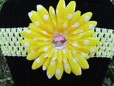 Yellow Gerbera Daisy with white Polka Dots by SimplyShabbiandChic, $4.00