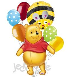 """Included in this bouquet: 7 Balloons Total 1 – 29"""" Winnie the Pooh Big as Life Shape Balloon 1 – 18"""" Cute Bumblebee Round Balloons 5 - 12"""" Mixed Latex Balloons (Red, White Polka Dots on Light Blue, Or"""