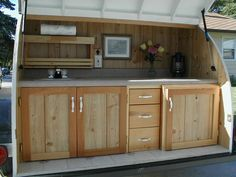 custom built kitchen in a teardrop trailer