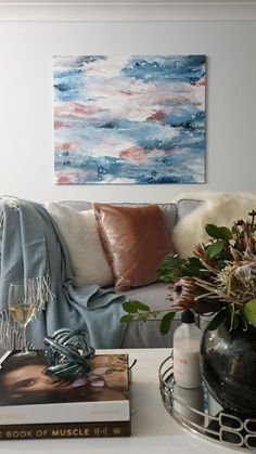 Soft pinks and blues to add a calm feel to your living room Acrylic Pouring Techniques, Acrylic Pouring Art, Pink Acrylics, Original Artwork, Blues, Calm, Tapestry, Living Room, Trending Outfits