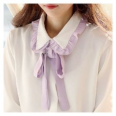 Buy Sechuna Detachable-Ribbon Contrast-Trim Blouse at YesStyle.com! Quality products at remarkable prices. FREE WORLDWIDE SHIPPING on orders over US$ 35.