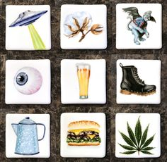 Refrigerator magnets- hand painted on porcelain square. Pop Culture Art, Hand Painted, Painted Porcelain, China Painting, Refrigerator Magnets, Coasters, Etsy, Instagram, Chinese Painting