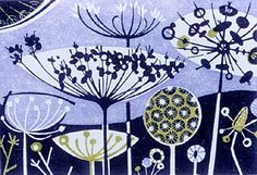 Angie Lewin is a lino print artist, wood engraver, screen printer and painter depicting the UK's natural flora in linocut and other limited edition prints. Illustrations, Illustration Art, Angie Lewin, Coq, Wood Engraving, Limited Edition Prints, Print Patterns, Screen Printing, Art Prints