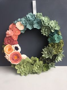 """made to order felt flowers & succulents 14"""" wreath with moss // ombre // unique home decor // gift // wedding decor // wall hanging by goldenafternoonmade on Etsy https://www.etsy.com/listing/234144657/made-to-order-felt-flowers-succulents-14"""